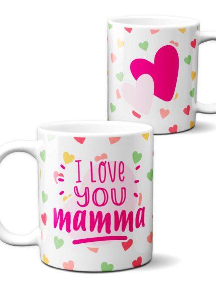 """Tazza cuoricini Festa della Mamma """" i Love You"""""""