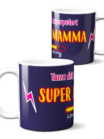 Tazza Mamma Supereroe Superpoteri per una colazione dalla ricarica super