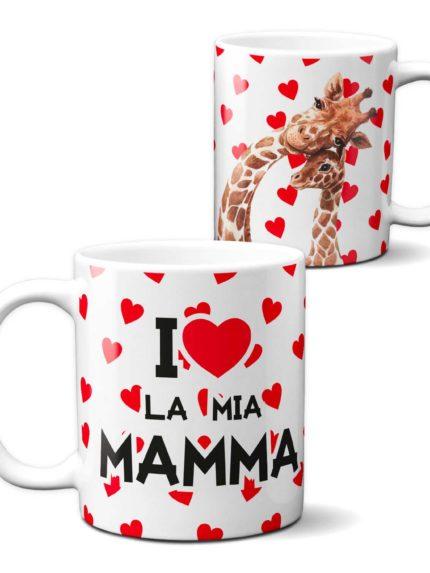 Tazza Amo la mia Mamma con Cuoricini Rossi per la Festa della Mamma